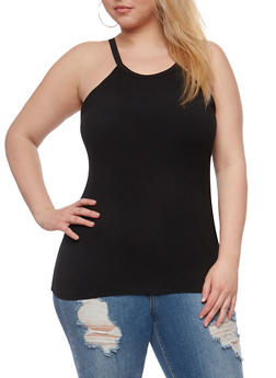 Plus Size Soft Knit High Neck Tank Top - 0910060580002