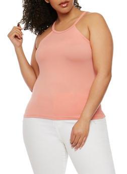 Plus Size Soft Knit High Neck Tank Top - ROSE - 0910060580002