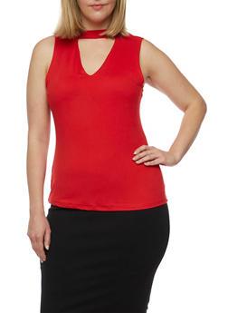 Plus Size Sleeveless V Neck Choker Top - 0910060582501