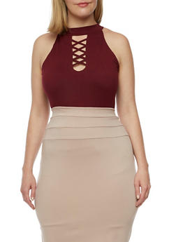Plus Size Sleeveless Caged Choker Top - 0910060587582