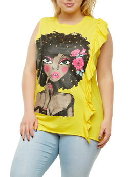 Plus Size Ruffle Side Graphic Tank Top - 0910062129067