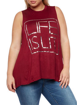 Plus Size Sleeveless Life is Lit Graphic Top - 0910072244351