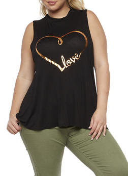 Plus Size Love Sleeveless Graphic Tank Top - 0910072244352