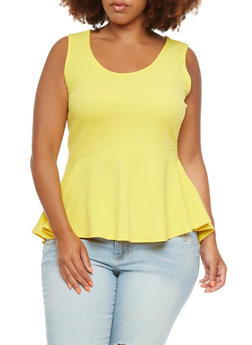 Plus Size High-Low Top with Peplum Paneling - 0910072245371