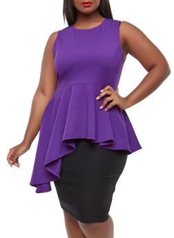 Plus Size Asymmetrical Peplum Top - 0910074285925