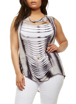 Plus Size Slashed High Low Top - 0910074287141