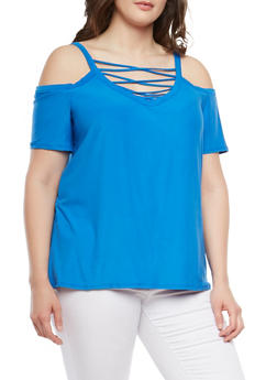 Plus Size Caged Cold Shoulder Top - 0912001441653