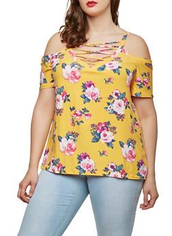 Plus Size Soft Knit Cold Shoulder Top - 0912001443165