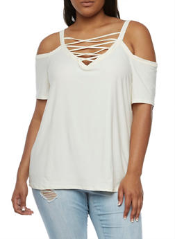 Plus Size Cold Shoulder Top with Caged Neck - IVORY - 0912001443653