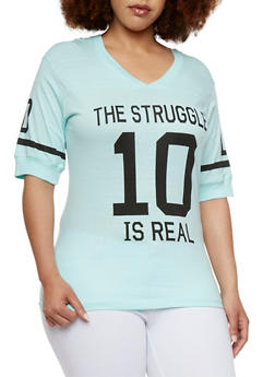 Plus Size Varsity Top with The Struggle is Real Print - 0912033871299