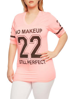 Plus Size Hooded Varsity T-Shirt with Graphic - 0912033872355