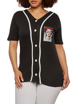 Plus Size Button-Down Baseball Top with Flawless 18 Print - 0912033872565