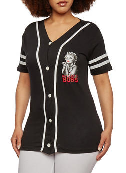 Plus Size Graphic Baseball Tee with Boss 85 Marilyn Print - 0912033873197