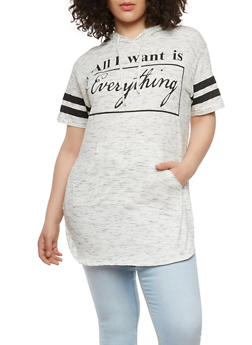 Plus Size Graphic Hooded T Shirt - 0912033877929