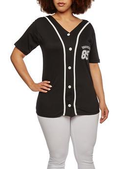 Plus Size Baseball T-Shirt with Print - 0912033879007