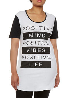 Plus Size Tunic Top with Positive Graphic - 0912033879251