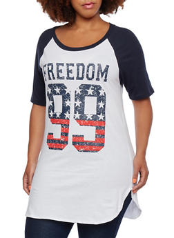 Plus Size Raglan T-Shirt with Freedon 99 Graphic - 0912033879998