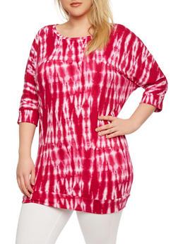 Plus Size Dolman Tunic Top in Tie-Dye Print - 0912038346357