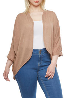 Plus Size Open Cardigan with Crochet Panel - 0912038346390