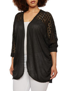 Plus Size Open Front Cocoon Cardigan with Crochet Yoke - 0912038346391