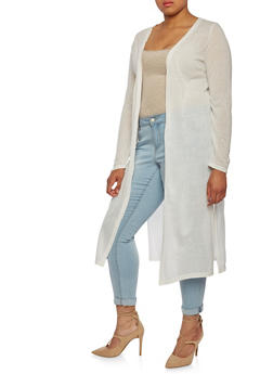 Plus Size Lightweight Duster with Open Front and Slits - 0912038346392