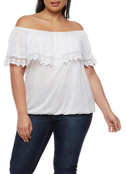 Plus Size Off the Shoulder Top with Crochet Trim - WHITE - 0912051060647