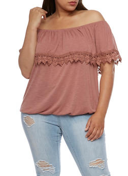 Plus Size Off the Shoulder Top with Crochet Trim - 0912051060647