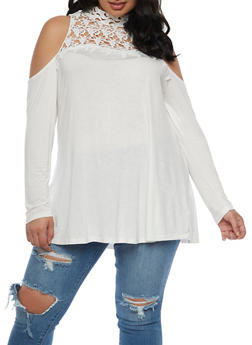 Plus Size Cold Shoulder Top with Crochet Trim - IVORY - 0912051065290