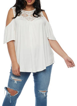 Plus Size Off the Shoulder Top with Crochet Trim - IVORY - 0912051065835
