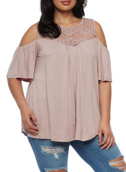 Plus Size Off the Shoulder Top with Crochet Trim - 0912051065835
