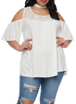 Plus Size Cold Shoulder Top with Lace Trim - IVORY - 0912051065836