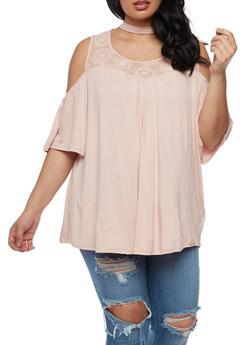 Plus Size Cold Shoulder Top with Lace Trim - BLUSH - 0912051065836