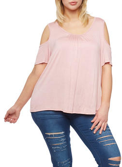 Plus Size Shirred Cold Shoulder Top - 0912054263316