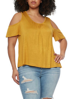Plus Size Shirred Cold Shoulder Top - MUSTARD - 0912054263316