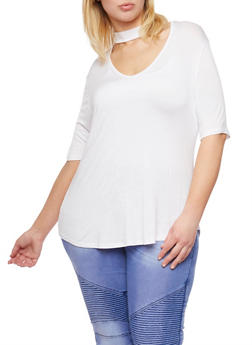 Plus Size Solid Choker V Neck Top - WHITE - 0912054263330