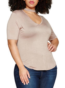 Plus Size Solid Choker V Neck Top - 0912054263330