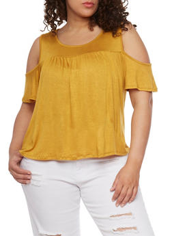 Plus Size Shirred Cold Shoulder Top - MUSTARD - 0912054264579