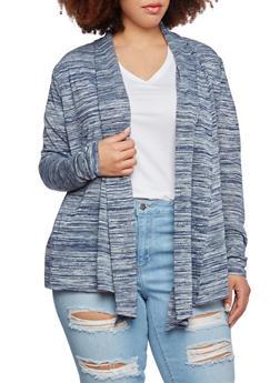 Plus Size Open Cardigan in Space Dye Print - 0912054265718