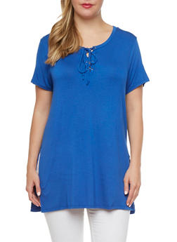 Plus Size Tunic Top with Lace-Up Front - 0912054269071