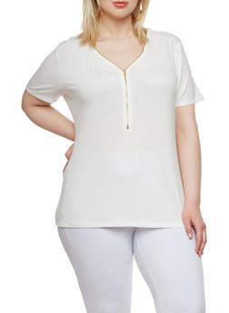 Plus Size Top with Zipper Front - 0912054269199