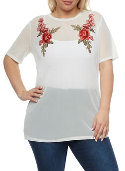 Plus Size Floral Applique Mesh Top - WHITE - 0912058750054