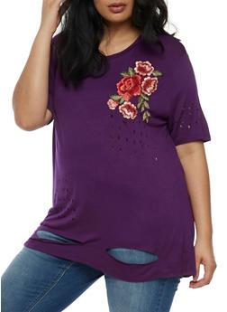Plus Size Floral Applique Laser Cut T Shirt - 0912058752009