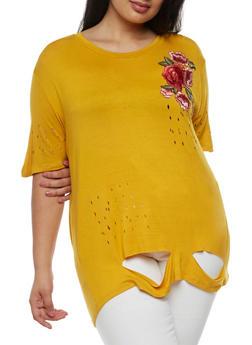Plus Size Floral Applique Laser Cut T Shirt - MUSTARD - 0912058752009