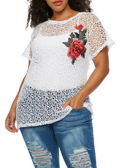 Plus Size Crochet Floral Patch Top - 0912058752026