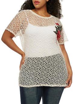 Plus Size Crochet Floral Patch Top - 0912058752026