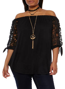 Plus Size Off the Shoulder Lace Sleeve Top with Necklace - 0912058757975
