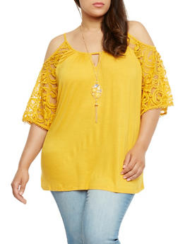 Plus Size Lace Sleeve Cold Shoulder Top with Necklace - MUSTARD - 0912058757977