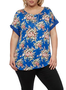 Plus Size Short Sleeve Floral Top with Necklace - 0912058758141