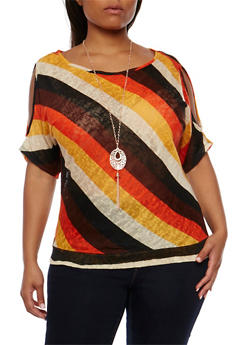 Plus Size Striped Cold Shoulder Top with Necklace - 0912058758242