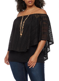 Plus Size Off the Shoulder Lace Overlay Top with Necklace - 0912058758496